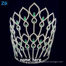 Gorgeous greencrystal large national pageant crowns, crystal customized bridal crown, name tiaras