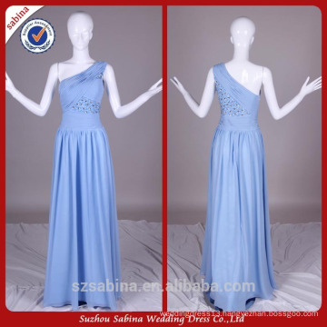 E0910 Long Sexy Light Blue Chiffon Real Sample Pictures One Shoulder Evening Party Dresses