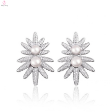 Fashion Sun Flower Design Sterling Silver Pearl Earrings Stud