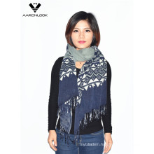 Lady Fashion Soft Acrylic Geometry Printed Fringe Scarf