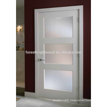 White Primed 3 Glass Panel Shaker Door