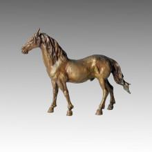 Animal Bronze Sculpture Décoration Cheval Statue en laiton Tpal-004