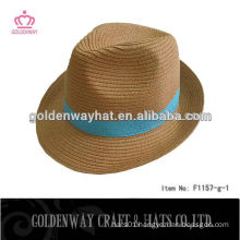 men's wide brim flat top fedora hat
