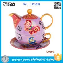 Ручная роспись чайник с бабочками с чашкой и блюдцем