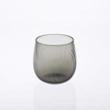 Grey Engraved Handblown Wine Glass