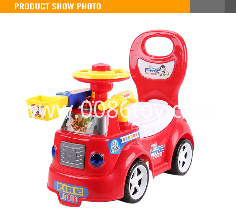 Plastic Kids Fire Engine Ride On Car Toy