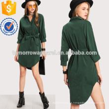 Alta Baixo Curvado Hem Camisa Vestido Fabricação Atacado Moda Feminina Vestuário (TA3164D)