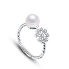 2015 Nuevo anillo de la perla de la llegada con el oro 18k plateado