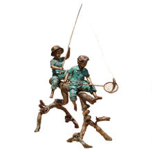 figure statue boys and girls fishing bronze sculpture