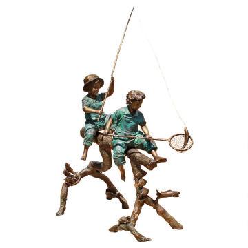 figure statue garçons et filles pêche sculpture en bronze
