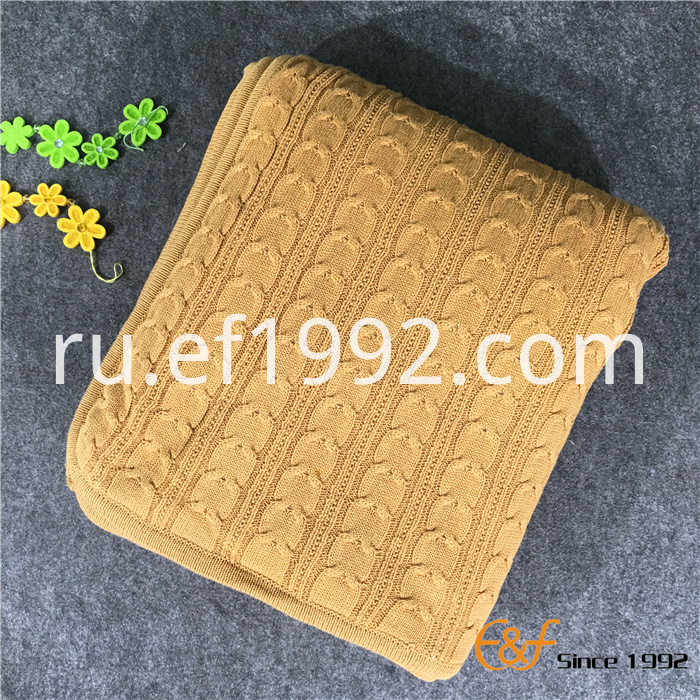 High quality cotton knitted throw blanket