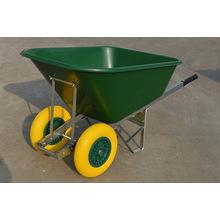Venda quente carrinho de mão Wb9600, construção de edifícios industriais, rodas duplas mão ferramentas caminhão de lixo