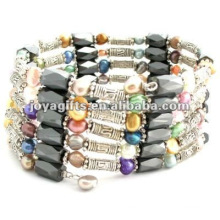 Magnetic Colorful Pearl Beaded wrap Bracelets & Necklace 36""