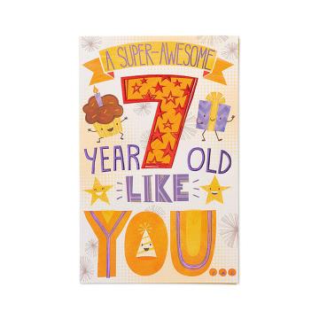 Cumprimentos Americanos Super-Impressionante 7º Cartão De Aniversário Com Cartão De Papel De Brilho