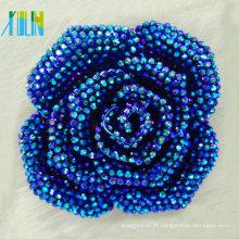 2015 fivelas populares brilhante metálico chapeamento resina azul flor