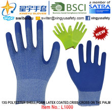 13G Polyester Shell Schaum Latex beschichtete Handschuhe (L1000) Criss-Cross auf der Handfläche mit CE, En388, En420, Arbeitshandschuhe