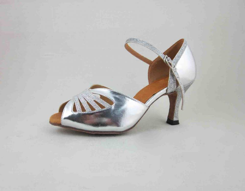 Ladies Silver Leather Salsa Shoes Online