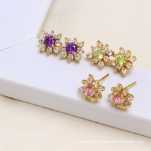 14k Gold Color The Newest Fashion Stud Zircon Elegant Earring (24322)