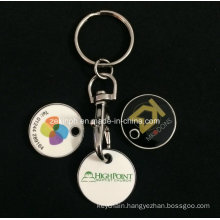 Cheap Customized Printing Trolley Coin Keychains
