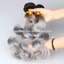 1b gray ombre Body wave no shedding high quality Brazilian hair virgin hair human hair