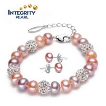 Nouveau bracelet en perles de mode à la mode 8-9mm Bracelet en perles d'eau douce Designs