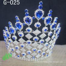 El desfile de hadas del rhinestone de encargo del tamaño grande al por mayor corona para la venta