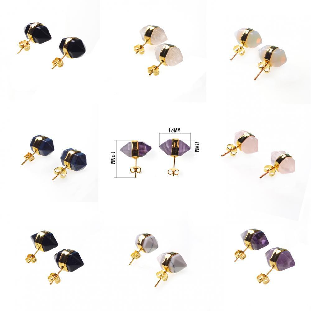 Hexagon stud earring