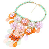 Bohemia Style Beach Flower Pendant Necklaces, Made of Colorful Acrylic Beads and Durable CordsNew