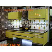 Gabinete de cozinha de aço inoxidável moderno e aquecido com laca fabricado na China design de armário de cozinha para espaço pequeno