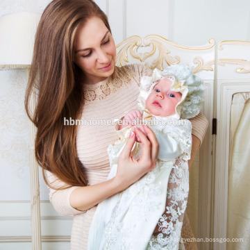 Nouveau Designs Bébé Bébé Baptême Robes Patterns Avec Chapeaux et Manches Bébé Fille Robes D'anniversaire
