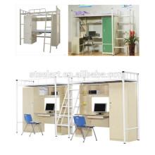 Lit superposé Style et lit à la maison Utilisation spécifique étudiant lit superposé en métal avec bureau et armoire