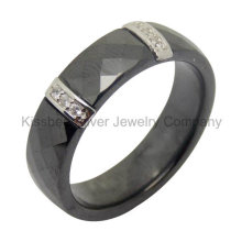 Silver Jewelry Ceramic Ring with Silver Accessories (R21069)