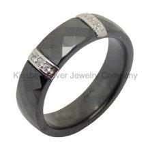 Jóias de prata anel de cerâmica com acessórios de prata (R21069)