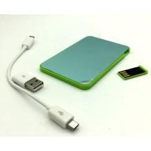 2016ept Whosale 2000mAh 2 in 1 Kreditkarten-Größe 2000mAh Power Bank mit USB-Stick für Promotional Geschenk