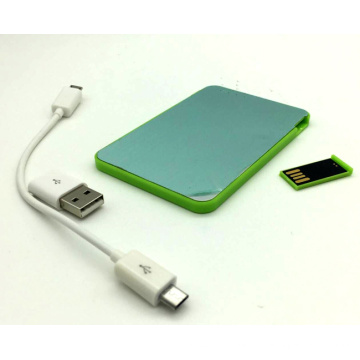 2016ept Whosale 2000mAh 2 en 1 banco del poder del tamaño 2000mAh de la tarjeta de crédito con memoria USB para el regalo promocional