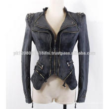 custom made vintage style cowboy cowgirls jeans leather coat fashion club party wear