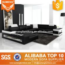 nouveau modèle de style allemand salon meubles noir blanc en cuir canapé ensemble avec led et cabinet