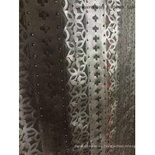 2016 nueva tela del bordado del laser de la PU del vestido de la manera del diseño