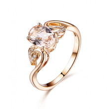 6x8mm Oval Cut Morganite and Diamond Engagement Ring 14k Yellow gold Floral Leaf Twisted Band