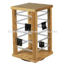 Loja de jóias Mesa de mesa Moldura de madeira sólida Slot de acrílico Colar de brinco Jóias Spinner Display Rack