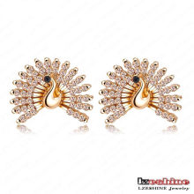 2colors Beautiful CZ Crystal Tail Peacock Stud Earrings (ER0064)