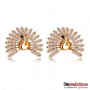 2colors Beautiful CZ Crystal Tail Peacock Stud Earrings (ER0064)