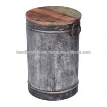 Industrial Vintage Metal Round Drum Coffee Table