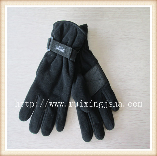 men fleece buckle cuff gloves