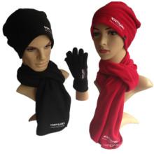 La bufanda polar 3PCS del guante caliente del sombrero del paño grueso y suave del muchacho del muchacho de la buena calidad del invierno fija la promoción