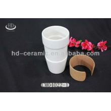 Suporte de caneca de viagem de cerâmica com tampa de silicone, caneca cerâmica de 15 onças
