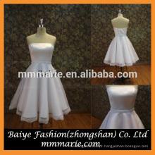 2016 strapless beading belt lace Peplum vestido de casamento branco princesa