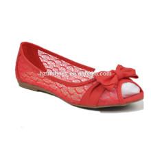 Кружева женщин обувь плоские туфли удобная обувь Оптовая носок обувь конфеты цвета