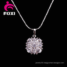 Rhodium Plated White CZ Nice Pendant Necklaces
