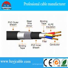0.6 / 1kv 4 медных проводника стальной проволоки бронированный силовой кабель